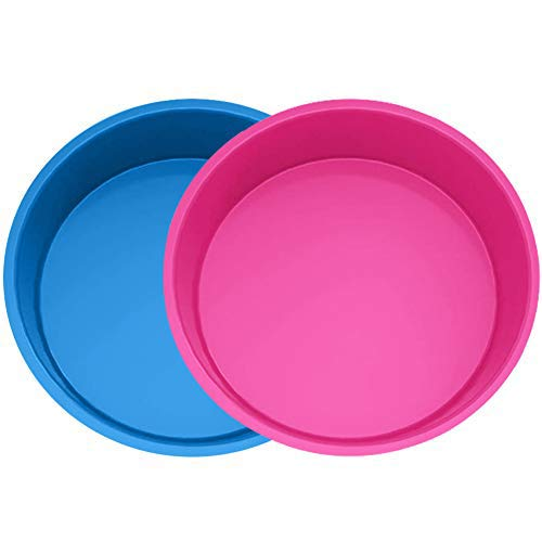 WENTS Silikon Backform Rund, 2pcs Kuchenform 20 cm Rund, Antihaft- & schnell abgelöstes Backformen Set für Schichtkuchen, Käsekuchen, Regenbogenkuchen und Chiffonkuchen