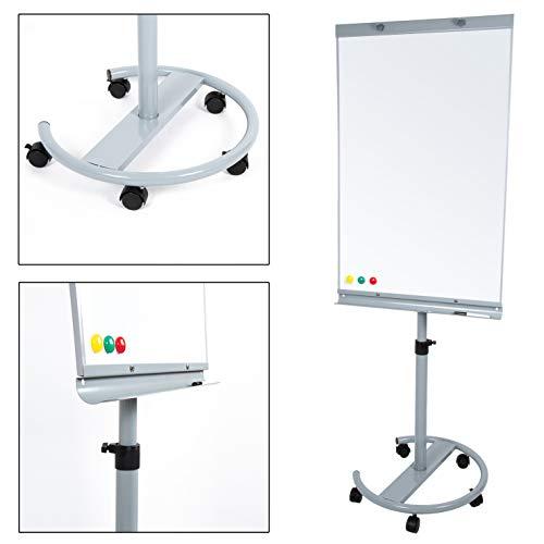 Flipchart auf Rollen deluxe Whiteboard magnetisch höhenverstellbar inklusive Papier Magnete Marker Schwamm