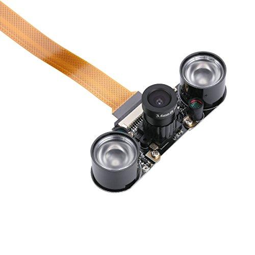 Raspberry Pi Zero W Kameramodul Nachtsicht mit um 3,6mm verstellbarer Brennweite, 2IR-Sensoren, LED-Licht, verstellbare Kamera Raspberry Pi Zero