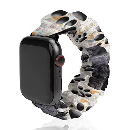 Correa de repuesto para hombre y mujer, compatible con Apple Watch de 42 mm/44 mm, suave y elástica para iWatch Series SE 6/5/4/3/2/1, Schnauzer gigante y huellas de huellas