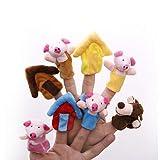 Aofocy Animaux de Dessins animés 'Les Trois Petits Cochons' Jouet Animal Éducatif de Poupée Jouets Éducatifs Conte de Fées Jouet Peluche Marionnette Conte Poupée pour Enfants Ensemble de 8pcs