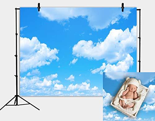 DANIU 7X5FT cielo azul, fondo de nubes blancas - Fondo brillante para fotografía profesional de nube blanca de 1,5 x 2,1 m
