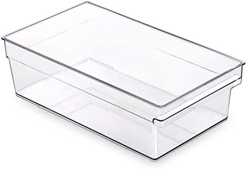 BINO Clear Plastic Storage Bin with Built In Pull Out Handle Standard Large Storage Bins for product image
