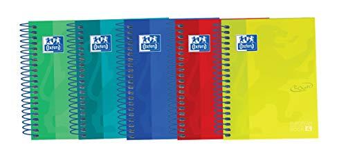 Oxford Touch - Pack de 5 cuadernos espiral de tapa extradura, 8º