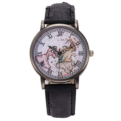 Reloj de pulsera analógico de cuarzo con números romanos, diseño de mapa retro, para mujer