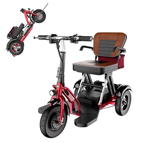 EWYI Scooter De Movilidad Plegable De 3 Ruedas Coche Eléctrico para Discapacitados con 3 Cambios De Marcha, Triciclo Eléctrico Ligero para Adultos Mayores Discapacitados 8AH/30KM