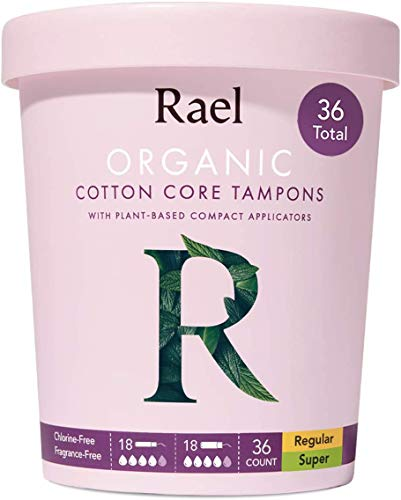 Rael Organic Cotton Compact Tampons  Regular amp Super Size Plant Based Applicator Chlorine Free Compact Applicator with Leak Locker Technology 36 Count