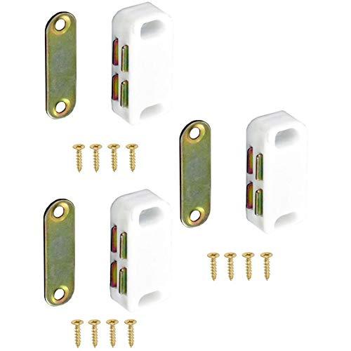 Securit S5431 - Lote de 3 cierres magnéticos para puerta de armario (3 unidades), color blanco