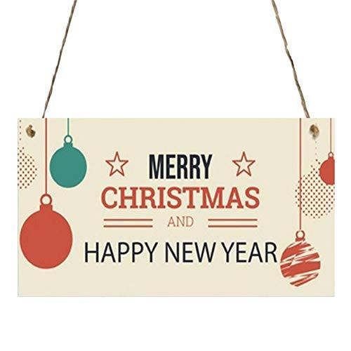 Javntouy Santa 2020 Ornamento en forma de madera Adornos colgantes para decoración de Navidad Santa M-a-s-k Árbol Decoración