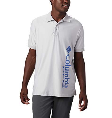 Columbia PFG Global Logo Polo pour Homme, Homme, 1884161, Logo Gris Clair/Bleu Vif, XL