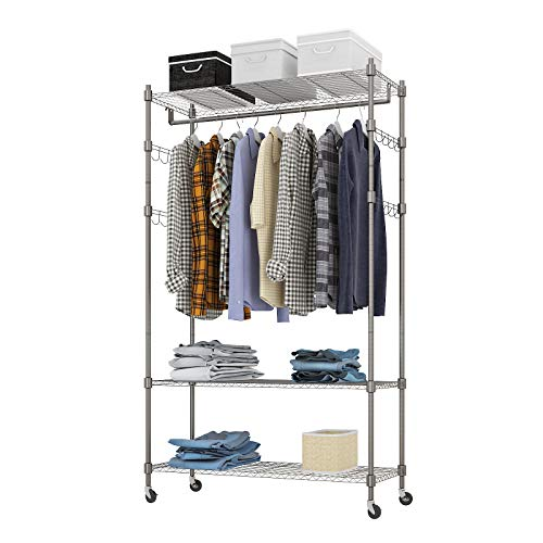 Heavy Duty Clothes Rack Adjustable Rolling Garment Rack with Shelves V frame Freestanding Wardrobe Rack including 1 Clothes Hanging Bar 3 tired Wire Shelving 4 Hanger Hooks - Hold Up to 400Lbs Gray 1Rod 4Hook