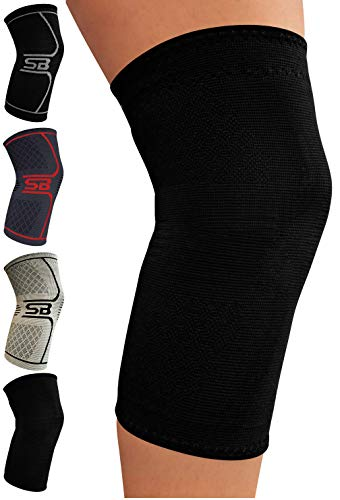 SB SOX Compression Knee Brace - Great Support That Stays in Place - Perfect for Recovery, Crossfit, Everyday Use - Best Treatment for Pain Relief, Meniscus Tear, Arthritis (Solid - Black, Small)