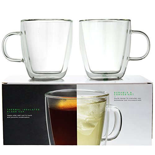 LINKYO Glass Coffee Cups - Double Wall Insulated Mugs, 2-Pack (11.8 oz, 349 ml)