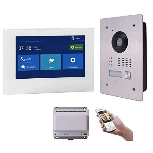2 Draht IP Video Türsprechanlage Gegensprechanlage 7'' Monitor Weiß Kamera 170° HD mit oder ohne Überwachungskamera, Farbe: 1x7'' Monitor