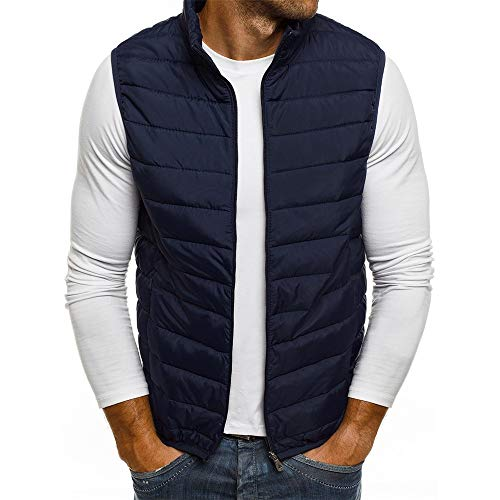 Invierno Hombres Multicolor Ocio Chaleco de Chaleco cálido Hombre Color Puro Acolchado Chaleco de algodón Ropa de Abrigo (S, Azul Marino)