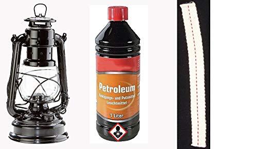 Set Feuerhand 276 Sturmlaterne schwarz + Petroleum + Docht
