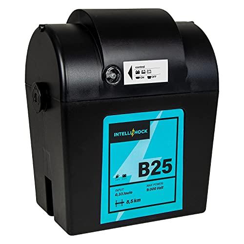 Intellishock B25 cerco eléctrico 9V   12V   230V, unidad de batería, para cerco eléctrico, cerco eléctrico, batería 12V, batería 9V, unidad de alimentación