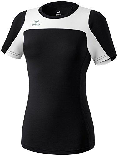 Erima Damen Running T-Shirt Race Line, Schwarz/Weiß, 40