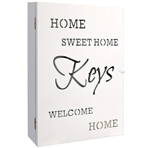 Schlüsselkasten Holzkasten 'HOME SWEET HOME' in Weiss 22x7x32cm 6 Schlüsselhaken Aufbewahrungsnische - Schlüsselbox Schlüsselbrett Schlüsselschrank