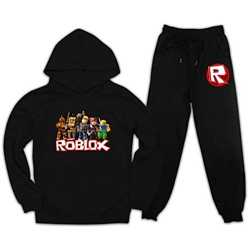 Buwict Athletic Tracksuits Roblxo Cartoon 2-Piece Set Kids Sweatsuits Hoodie Pullover Sweatpants for Toddler Boys Girls
