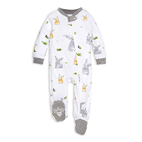 Burt's Bees Baby Baby Boys' Sleep and Play PJs, 100% Organic Cotton One-Piece Romper Jumpsuit Zip Front Pajamas, Bunny Trail, Newborn