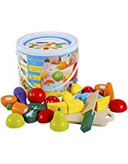 Play Food for Children Toy Food Sets Wooden Toys Vegetables and Fruits Cutting Set Wooden Kitchen Play Food Educational Toys Pretend Play Food Sets for Kids Boys Girls for Children's Day gifts