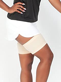 Light Skin Tone Solid Thigh Guards - Anti-Thigh Chafing Leg Bands - No-Slip Gripper at Top and Bottom of Each Sleeve to Prevent Inner Thigh Chafing - Made in USA (Size 3)