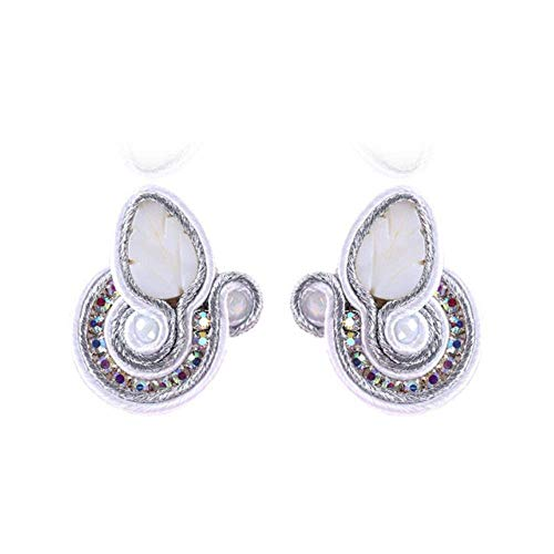 Gymqian Vintage Quirky Earrings Handmade Soutache Earring Ethnic Style Party Jewelry Female Crystal Decoration D Earring Black Decorations/White