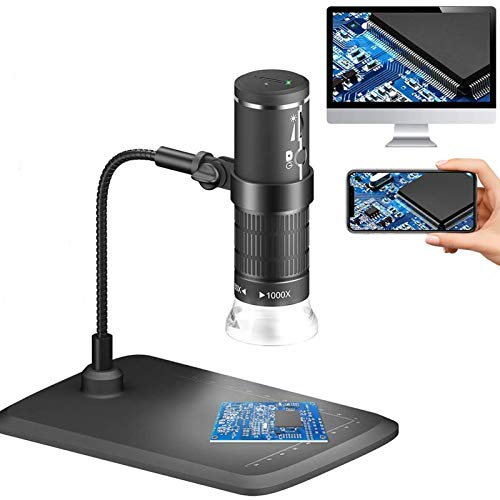 Wireless Digital Microscope HD 1080P Handheld WiFi USB Microscope Camera 50x to 1000x Magnification Coin PCB Insect Magnifier with Stand, 8 Adjustable LED for iPhone, Android, iOS, PC, Windows Mac