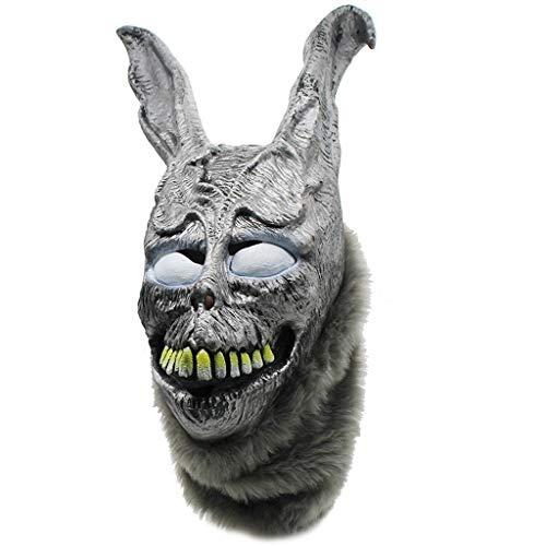 Dapei Donnie Darko FRANK Kaninchenmaske Halloween The Bunny Latexkapuze mit Flauschiger realistischer Kunstpelzmaske