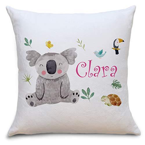 Koala Bär Flauschiges Kissen mit Füllung Personalisiert mit Namen Geschenke Geschenkideen für Mädchen zum Geburtstag Geburt Baby Kind
