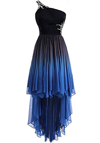 FTBY Women's Hi-Lo Homecoming Dresses Ombre Prom Gown One Shoulder Chiffon Formal Beaded Cocktail Dress Blue2-22P