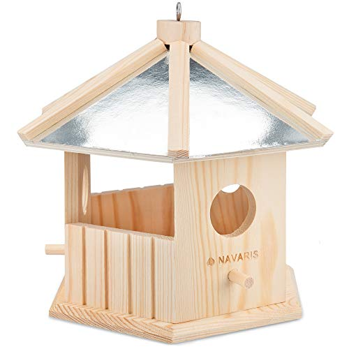 Navaris Casetta Mangiatoia Uccelli - Nido in Legno da Appendere in Giardino Balcone per Uccellini Selvatici e Passeri - Wooden Bird Nest 18x18x23cm