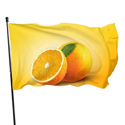 Cy-ril Bandera de poliéster de 3 x 5 pies con diseño de Gota de Agua de Frutas Naranjas Frescas, Bandera de jardín Duradera Resistente a la decoloración