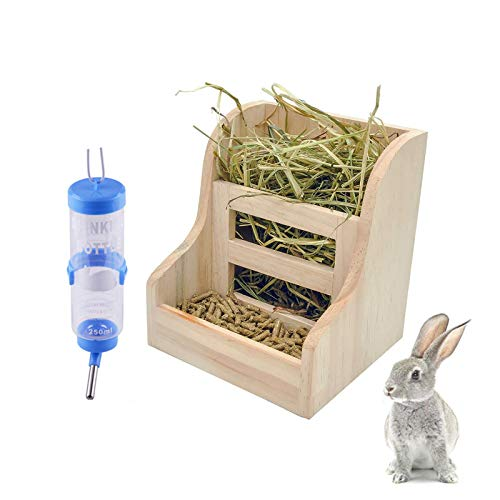 2 Pack Rabbit Hay Feeders Rack,Bunny Water Bottles Dispenser,Wooden Hay Food Bin for Grass/Food for Small Animal Supplies Rabbit Chinchillas Guinea Pig Hamsters