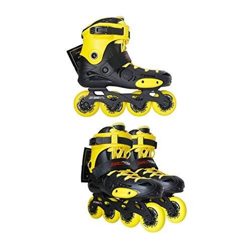 mfw@wewe Inline Skates, Adult Single Row Skates Roller Skates Professional Men And Women Skates Two Modes Adjustable (Color : YELLOW, Size : EU 42/US 9/UK 8/JP 26CM)