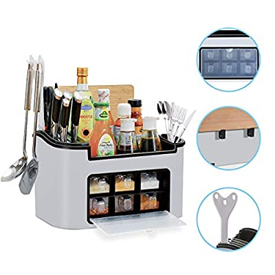 Lidrad Multi-function Spice Rack Organizer with Seasoning Jar Storage Box for Flatware Cutlery Set, Knife and Cutting Board from