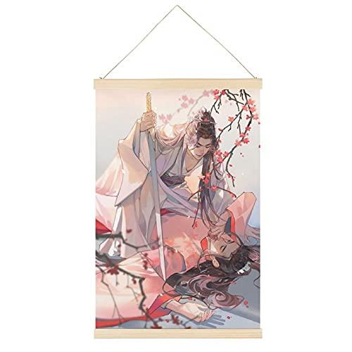 Percha de cartel estilo chino vintage con texto en inglés 'Word of Honor', marco para colgar carteles de pergamino en lienzo, pintura decorativa para pared de 30,5 x 45,7 cm
