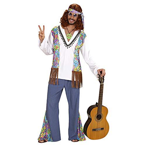 Widmann 53622 - Kostüm Woodstock Hippie, Hemd mit Weste, Hose, Stirnband, Flower Power, Verkleidung, Karneval, Mottoparty
