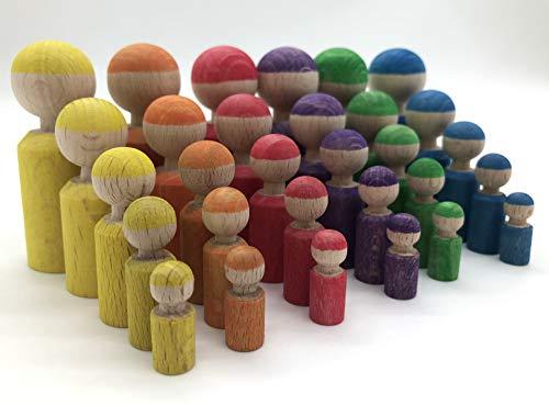18 oder 30 Holzfiguren Abstufungen Regenbogen Kind Großfamilie Abstufung Größen Farben lernen Montessori Waldorf Öko Figuren Holz Figuren Kreativ Regenbogenfarben Geschenk Freies Spiel Holzfiguren