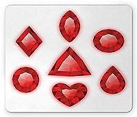 ダイヤモンドマウスパッド、白の背景に円形のグラフィックレッド貴石の鮮やかなディスプレイ、標準サイズの長方形の滑り止めラバーマウスパッド、赤白