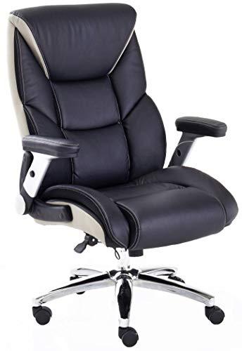 Robas Lund Bürostuhl Schwarz-Beige Chefsessel Drehstuhl höhenverstellbar belastbar bis 180 Kg, real Comfort 2