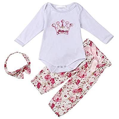 Newborn Baby Girl Clothes Ruffle Long Sleeve Bodysuit Floral Pants with Headband 3Pcs Infant Girl Outfits Set 0-2T (Pink Crown, 0-6 Months)