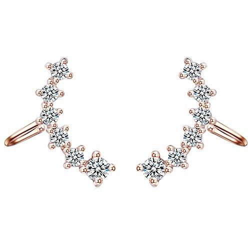 Pendientes de clip para mujer con circonitas, brillantes, piedras de cristal, largos, color oro rosa
