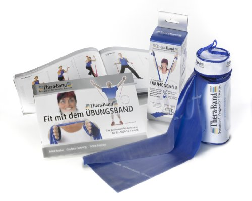 Thera-Band 2,5 m Übungsband Fitnessband Therapie Band im Beutel extra stark/blau