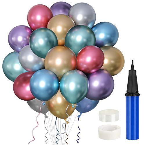 Gafild Glänzende Metallic-Luftballons Set,Geburtstag Dekoration Luftballons Set,60 Stück Luftballons Metallic für Geburtstag, Baby-Dusche, Hochzeit Dekoration, Party Deko