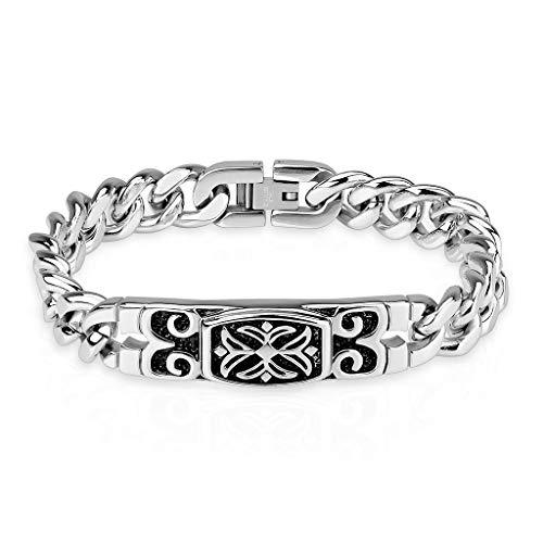 Celtic Cross Engraved Plate 316L Stainless Steel Chain Bracelet