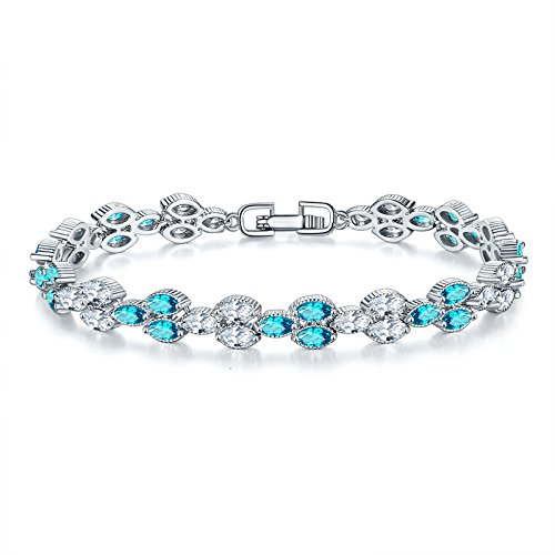 ZJZ New colorful crystal zircon bracelet women's Korean fashion sweet multi-layer hand chain accessories birthday gift jewelry (Color : Platinum)