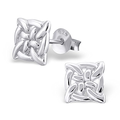 ICYROSE 925 Sterling Silver Small Celtic Knot Square Stud Earrings 16443