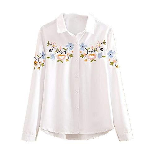 De gran tamaño de la ropa de las mujeres camisa blanca de manga larga flor bordado blusa mujeres botón